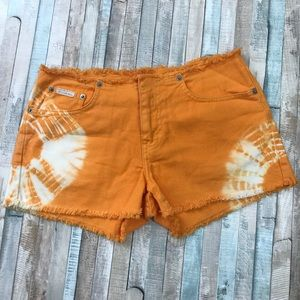 Calvin Klein orange tie die cut off jean shorts